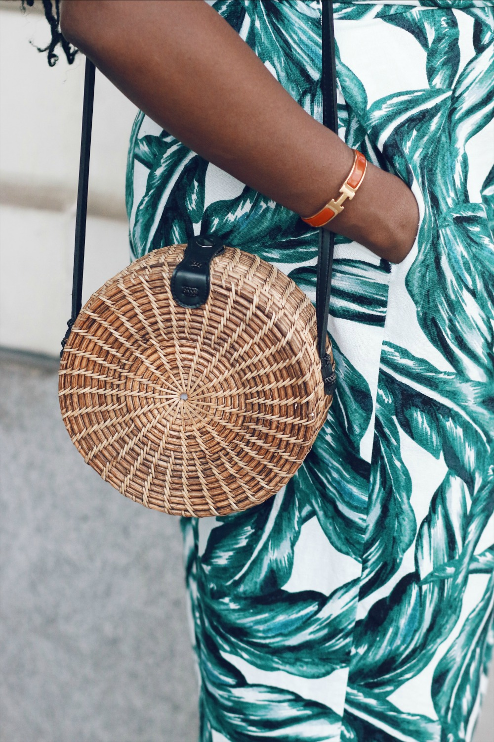Island tribe woven bag and hermes braclet